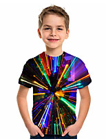 cheap -Kids Boys' Basic Holiday Geometric Short Sleeve Tee Rainbow