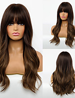 cheap -Synthetic Wig Body Wave Neat Bang Wig Long Dark Brown / Light Brown Synthetic Hair 24 inch Women's Fashionable Design Women Ombre Hair Brown