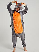 cheap -Adults' Kigurumi Pajamas Dragon Onesie Pajamas Flannel Fabric Orange Cosplay For Men and Women Animal Sleepwear Cartoon Festival / Holiday Costumes / Leotard / Onesie
