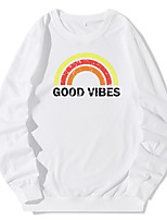 cheap -Women's Daily Pullover Hoodie Sweatshirt Rainbow Casual Hoodies Sweatshirts  White Black Blue