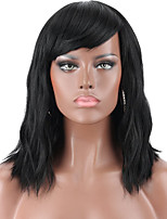 cheap -Synthetic Wig Curly With Bangs Wig Medium Length Dark Brown Blonde Natural Black Synthetic Hair 14 inch Women's Party New Arrival With Bangs Black