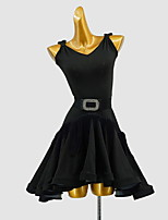 cheap -Latin Dance Dress Sash / Ribbon Split Joint Girls' Training Daily Wear Sleeveless Cotton