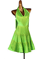 cheap -Latin Dance Dress Tassel Split Joint Women's Training Sleeveless High Spandex