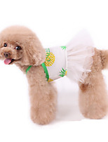 cheap -Dog Dress Pajamas Fruit Leisure Cute Party Casual / Daily Dog Clothes Warm White Costume Cotton XXXS XXS XS S M L