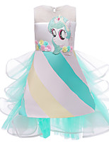 cheap -Princess Unicorn Dress Flower Girl Dress Girls' Movie Cosplay A-Line Slip Green Dress Halloween Children's Day Masquerade Polyester