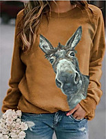 cheap -Women's Blouse Animal Horse Tops Round Neck Basic Daily All Seasons Blue Red Yellow S M L XL 2XL 3XL 4XL 5XL
