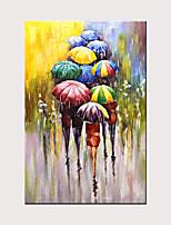 Недорогие -Современное абстрактное искусство ручная роспись холст дождь уличный зонт картина маслом стены искусства спальня украшения гостиной проката холст