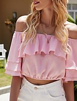 Недорогие -Жен. Блуза Однотонный Верхушки С открытыми плечами Повседневные Лето Розовый S M L XL