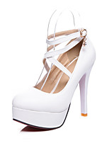 cheap -Women's Heels Spring / Fall Pumps Round Toe Party & Evening Office & Career PU White / Black