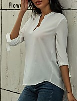 cheap -Women's Blouse Solid Colored V Neck Tops Summer White Blushing Pink