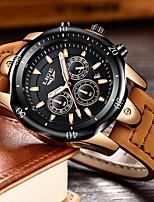 cheap -LIGE Men's Sport Watch Quartz Modern Style Sporty Casual Water Resistant / Waterproof Leather Black / Brown Analog - Golden / Brown Black / Silver Black+Gloden / Noctilucent