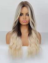 cheap -Synthetic Wig Cosplay Wig Body Wave Loose Curl Pixie Cut Middle Part Wig Very Long Dark Brown Synthetic Hair 26 inch Women's Party Wedding Ombre Hair Dark Brown Gray