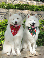 cheap -Dog Cat Bandanas & Hats Dog Bandana Dog Bibs Scarf Cartoon Floral Botanical Party Cute Christmas Party Dog Clothes Adjustable White / Red Red / Green White Costume Cotton