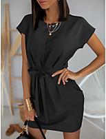 cheap -Women's A-Line Dress Short Mini Dress - Short Sleeves Solid Color Summer Work 2020 Black Blushing Pink Brown S M L XL