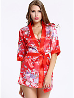 cheap -Women's Print Robes Suits Nightwear Geometric Red One-Size