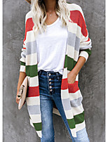 cheap -Women's Color Block Cardigan Long Sleeve Sweater Cardigans V Neck Fall Winter Blue Red Yellow