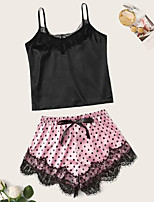 cheap -Women's Lace Suits Nightwear Polka Dot Embroidered Blushing Pink S M L