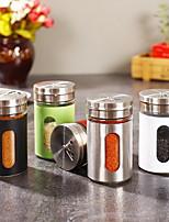 cheap -Spice Jar Stainless Steel Kitchen Accessories Seasoning Sprays Bottle Glass Pepper salt Shaker Cruet Condiment Cooking Tools