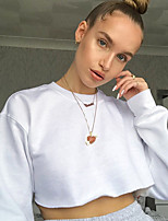 cheap -Women's Sweatshirt Pullover Sweatshirts Black White Navel Crew Neck Solid Color Cute Sport Athleisure Top Long Sleeve Breathable Soft Comfortable Yoga Exercise & Fitness Running Everyday Use Causal