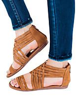 cheap -Women's Sandals Roman Shoes / Gladiator Sandals Summer Flat Heel Open Toe Daily PU Dark Brown / Black / Gray
