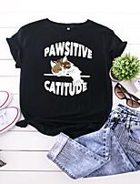 cheap -Women's T-shirt Animal Letter Print Round Neck Tops 100% Cotton Basic Summer Wine Black Army Green