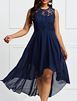 cheap -Back To School A-Line Elegant Plus Size Homecoming Prom Dress Illusion Neck Sleeveless Asymmetrical Chiffon with Pleats 2020 Hoco Dress