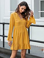 cheap -Women's Sheath Dress Short Mini Dress - Long Sleeve Solid Color Summer Fall Casual 2020 Yellow S M L XL