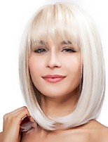 cheap -Synthetic Wig Straight Bob Neat Bang Wig Medium Length White Synthetic Hair 12 inch Women's Party New Arrival Comfortable White