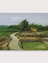 cheap -IARTS®Hand Painted Village Oil Painting   with Stretched Frame For Home Decoration