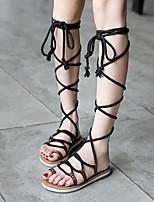 cheap -Women's Sandals Roman Shoes / Gladiator Sandals Summer Flat Heel Open Toe Daily PU Black / Yellow / Red