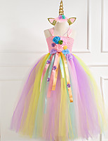 cheap -Princess Dress Party Costume Masquerade Girls' Movie Cosplay Halloween Christmas Blue / Pink / Fuchsia Dress Headwear Christmas Halloween Carnival Polyester / Cotton Polyester