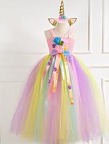 cheap -Princess Dress Party Costume Masquerade Girls' Movie Cosplay Vacation Dress Halloween Christmas Blue / Pink / Fuchsia Dress Headwear Christmas Halloween Carnival Polyester / Cotton Polyester