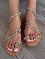 cheap -Women's Sandals Roman Shoes / Gladiator Sandals Summer Flat Heel Open Toe Daily PU Yellow