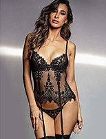 cheap -Women's Lace Mesh Gartered Lingerie Suits Nightwear Jacquard Embroidered Black S M L