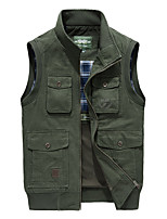 cheap -Men's Hiking Vest / Gilet Outdoor Windproof Breathable Multi-Pocket Multi Pocket Top Cotton Camping / Hiking Hunting Fishing Army Green / Khaki / Dark Blue
