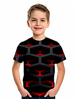 cheap -Kids Boys' Sports & Outdoors Basic Holiday Color Block Short Sleeve Tee Black