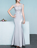 cheap -Mermaid / Trumpet Elegant Floral Engagement Formal Evening Dress Illusion Neck Sleeveless Floor Length Lace Satin with Appliques 2020