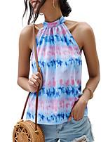 cheap -Women's Blouse Tie Dye Round Neck Tops Summer Blue