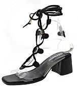 cheap -Women's Sandals Roman Shoes / Gladiator Sandals Summer Cuban Heel Open Toe Daily PU Black / Champagne / Beige