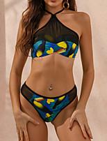 cheap -Women's Tankini Swimsuit Color Block Swimwear Bathing Suits Black