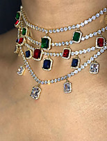 cheap -Women's Blue Green Red Choker Necklace Chain Necklace Pave European Fashion Zircon White Blue Red Green 21~50 cm Necklace Jewelry For Party Evening Street Birthday Party Festival