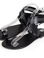 cheap -Women's Sandals Roman Shoes / Gladiator Sandals Summer Flat Heel Open Toe Daily PU White / Black / Coffee