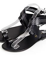 cheap -Women's Sandals Roman Shoes / Gladiator Sandals Summer Flat Heel Open Toe Daily PU White / Black / Coffee