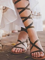 cheap -Women's Sandals Roman Shoes / Gladiator Sandals Summer Flat Heel Open Toe Daily PU Almond / Black