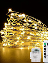 cheap -10M 100LED Waterproof Remote Control 8 Function Copper Wire LED String Lights Outdoor String Lights AA Battery-Powered Fairy Light Christmas Wedding Birthday Family Party Room Decoration Without Batte