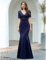 cheap -Mermaid / Trumpet Elegant Glittering Engagement Formal Evening Dress V Neck Short Sleeve Floor Length Spandex with Sequin 2020