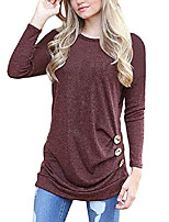 cheap -women long sleeve loose button trim blouse solid color round neck tunic t-shirt top wine red m