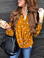 cheap -Women's Shirt Polka Dot Shirt Collar Tops Summer Red Yellow Navy Blue