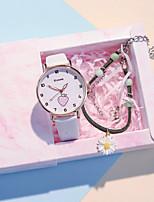 cheap -Kids Quartz Watches Quartz Modern Style Stylish New Arrival Chronograph PU Leather Black / White / Brown Analog - White Black Blushing Pink