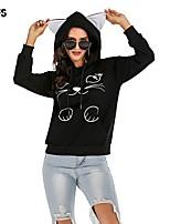 cheap -Women's Hoodie Solid Colored Character Basic Hoodies Sweatshirts  Black